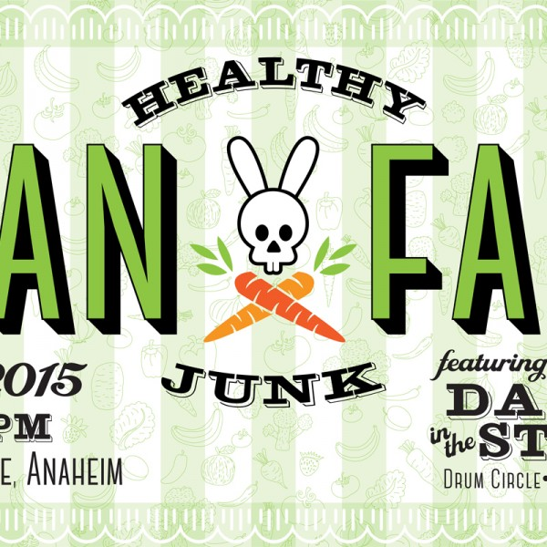 Vegan Faire logo and banner design was created using Illustrator, incorporating existing Healthy Junk logo - created by Paulifornia. Vegan Faire has taken a life of its own as a large scale local event.