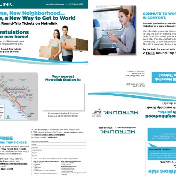 Direct Mail Piece created for Metrolink.