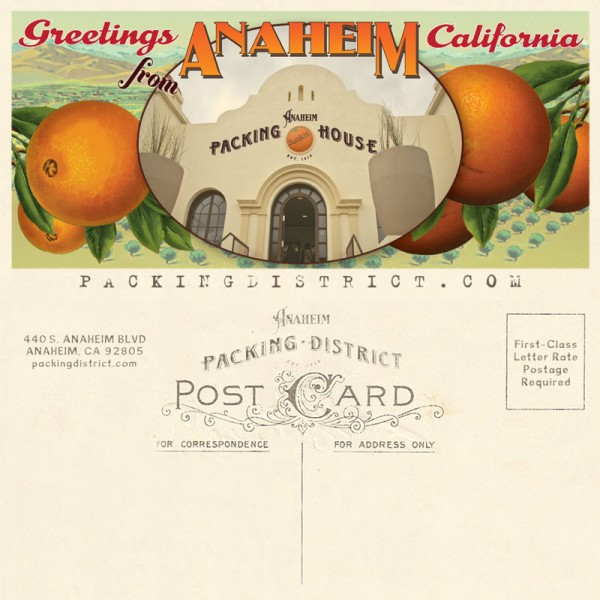 Vintage inspired Packing House postcard design. Printed on a generous cream laid paper, created using InDesigns, Illustrator and Photoshop.
