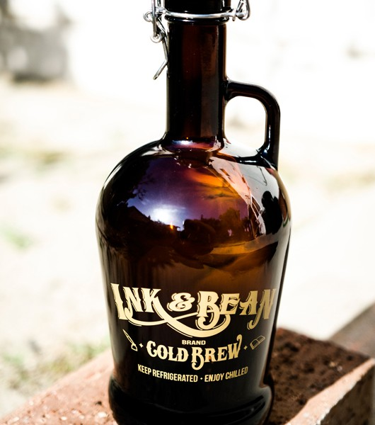 Ink and Bean Coffee Shop in Anaheim - Cold Brew Growlers. Design utilized existing logo and adding elements to brand these great multi-purpose growlers.