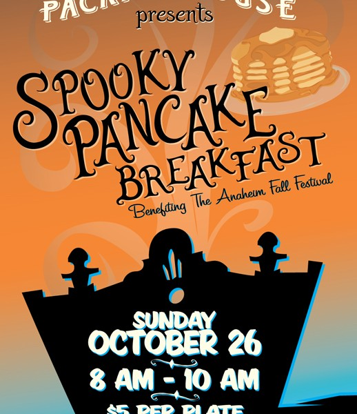 Spooky Pancake Breakfast Poster design created in Illustrator. Hand drawn elements: ghostly pancake, haunted packing house and aroma made with Wacom tablet.