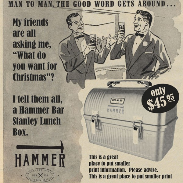 Hammer Bar Marketing Design created in Photoshop. Taking vintage artwork and incorporating new brand and current marketing promotion. This is another example of the many pieces of marketing that was included in the Hammer Bar branding project.
