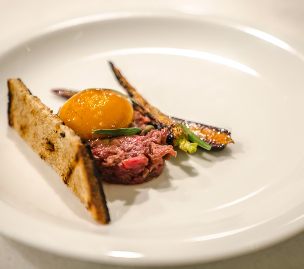 Photograph of Wheat and Sons' Beef Heart Tartare at The Overlook dining event.