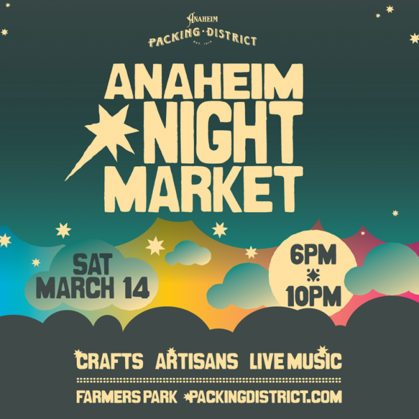 Anaheim Night Market Poster Design created in Illustrator. Event is quarterly. Brand, logo and style created with the ability to simply change vibe, vector atmospheric elements, colors scheme and copy to customize each quarter's market.