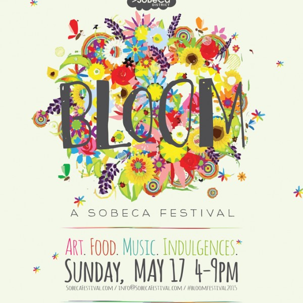 Bloom Festival logo design created in Illustrator. Elements of actual flowers were turned into vectors, colorized and placed in random order.
