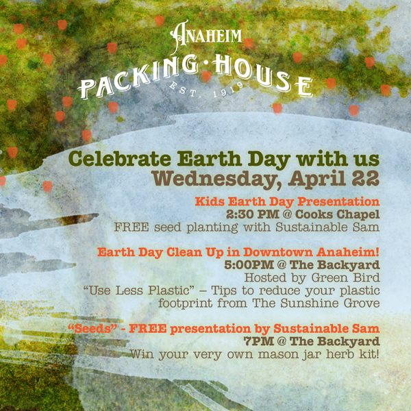 Design for the Packing House Earth Day Email Blast. Simple watercolor strokes over existing artwork.